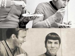 William Shatner and Leonard Nimoy having lunch on the set of Star Trek.